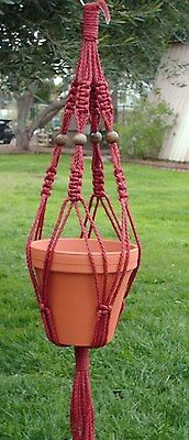 Macrame Plant Hanger 28in Vintage Beaded 6mm Cranberry