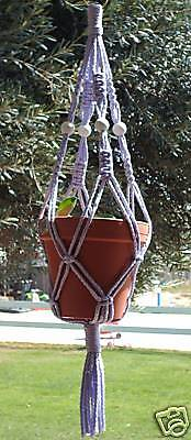 Macrame Plant Hanger 28in Vintage 6mm LAVENDER with White Beads