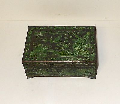 Old Chinese Cloisonne Repousse Green Enamel Floral Birds Humidor Jar Box