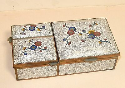 Rare Chinese Cloisonne White Enamel Three Sided Match And Humidor Box