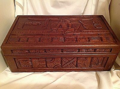 Vintage AZTEC Hand Carved Wood STORE DISPLAY - Large Humidor CIGAR Box - RARE