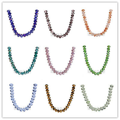 50/200Pcs Faceted Glass Crystal Jewelry Findings Rondelle Loose Beads 6x4mm