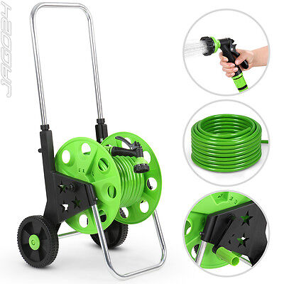 20m Garden Hose Pipe Reel Holder Stand with Hose and Sprinkler Free Standing