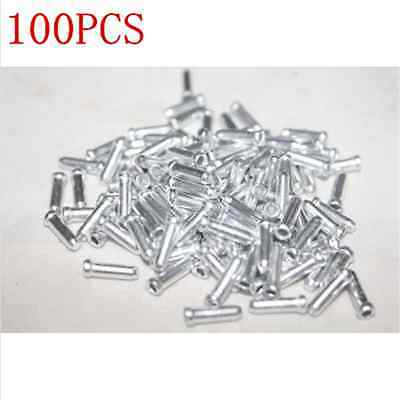 3X 100x Bicycle Bike Shifter Brake Cable Tips Caps End Crimp Silver BL