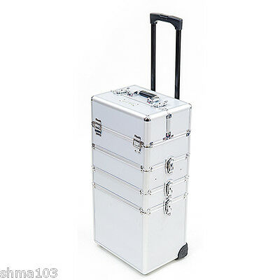 Mollycoddle 5in1 Silver Hairdressing Makeup Beauty Box Case Cosmetics Trolley