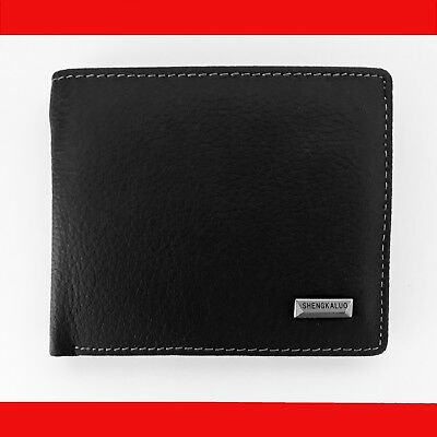 100% GENUINE LEATHER New Mens Black Clip Wallet Coin Purse Card Holder