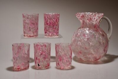 c. 1897 COIN DOT IVT OPTIC SPATTER Northwood PINK Spatter Ball Jug & 5 Tumblers