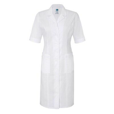 Adar Women Doctor Nurse Uniform Short Sleeve Button Down Back-Smocked Dress Coat