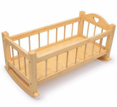 Large Wooden Rocking Dolls Cradle Solid Wood Crib Cot Bed Toy