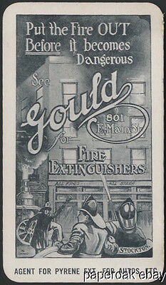 Gould Fire Extinguishers Stockton, Califrnia Advertising Card ca.1915