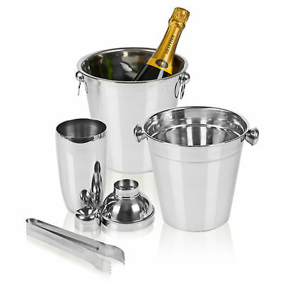 4 Piece Stainless Steel Bar Set Cocktail Shaker Ice Bucket Wine Cooler Tongs