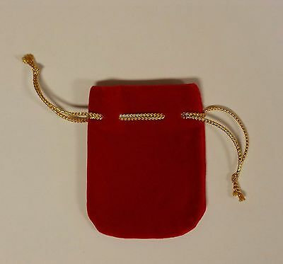 10 Small Red Velveteen/Velour Jewelry/Charm/Stone/Gift Drawstring Bags