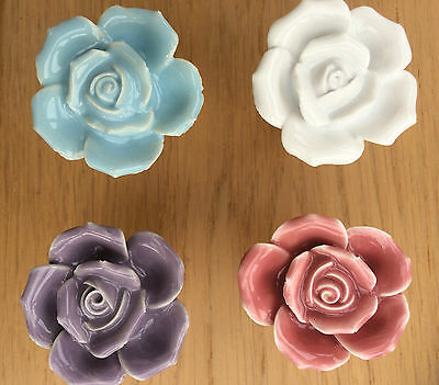 Ceramic Rose Door Knobs Handle Cabinet Cupboard Drawer Pull - Choice of 4