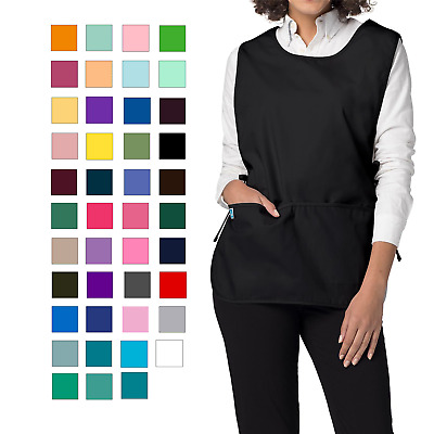 Adar Women's Bib Apron 2 Side Ties And Deep Front Pockets NWT-36 Color & 2 Sizes