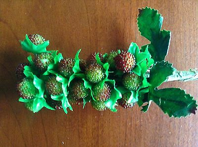 Vintage Millinery Flower Berry Raspberry Green w/Red for Hat Wedding + Hair KH8A