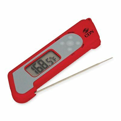 CDN Folding Thermocouple Thermometer Stainless Steel Probe Shatterproof NSF Red
