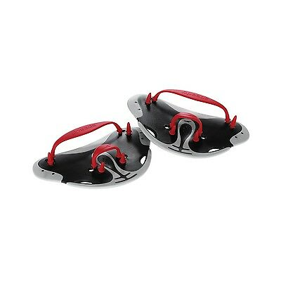 Speedo Swim Biofuse Finger Paddles Water Training Exercise Black Red 7530258-001
