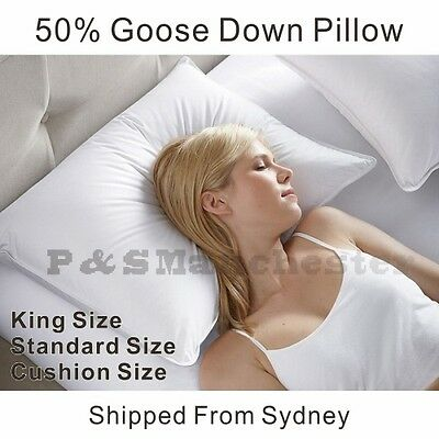 Deluxe Soft 50% White Goose Down Standard Size/King Size Pillow / Cushion insert