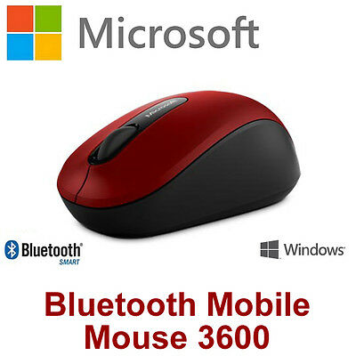 Microsoft Bluetooth Mobile Mouse Red PN7-00015 Wireless for Laptop Tablet PC