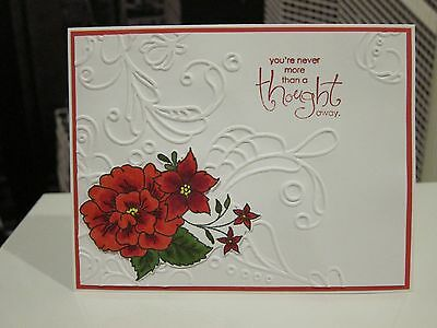 "DIY Stampin Up /""Thank You For Caring/"" Floral Coral Handmade Card Kit 4 cards"