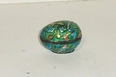Old Chinese Cloisonne Repousse Enamel Egg Shape Pill Jar Box