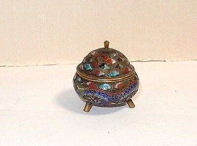Old Chinese Dragon Designed Cloisonne Open Enamel Opium Censor Snuff Box