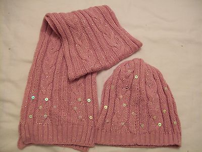 girls pink and sequin scarf and beanie hat 10-12 yrs (JJK.519.28)
