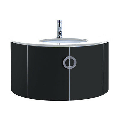 1000mm Designer Bathroom Black Ceramic Granite Wall Hung Vanity Unit Basin Sink