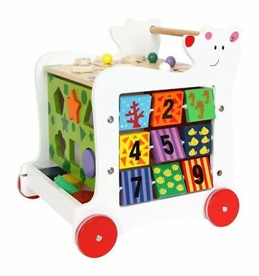 Baby Wooden Bear Walker Shape Sorter Toddler Wooden Blocks Bricks Activity Toy