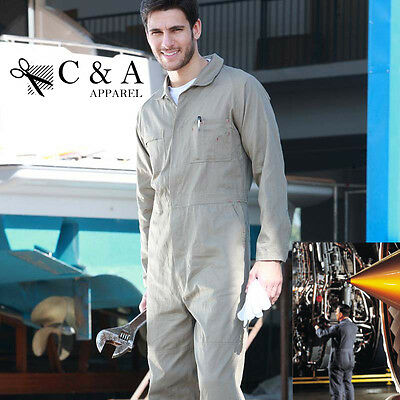 100% Cotton Drill Long Sleeve Full Overalls Coveralls With Consealed Press Stud