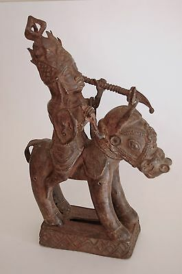 African cast bronze sculpture of warrior on a horse, Benin Nigeria antique