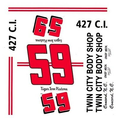 """#5 /""""Tiger/"""" Tom Pistone 1956-57 Chevrolet 1//64th HO Scale Slot Car Decals"""