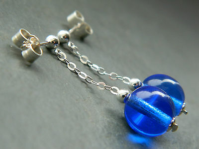 Vintage Bristol Blue Glass Beads & 925 Sterling Silver Chain Stud Drop Earrings