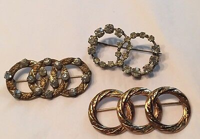 Art Deco Eternity Circle Pins Lot Of 3 Continuous Circle Pins Czech Rhinestones