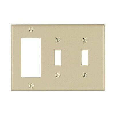 (10 pc lot) Decorator/GFCI 2 Toggle Switch 3-Gang Wall Plate Cover Ivory Lexan