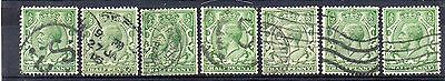 GB = 1913 G5 1/2d Green x 7. (Shades). SG 351/356. For Study or Shades. (C1a3)