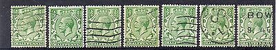 GB = 1913 G5 1/2d Green x 7. (Shades). SG 351/356. For Study or Shades. (C7a1)