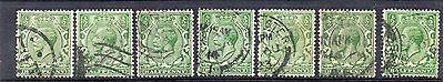 GB = 1913 G5 1/2d Green x 7. (Shades). SG 351/356. For Study or Shades. (C7a2)