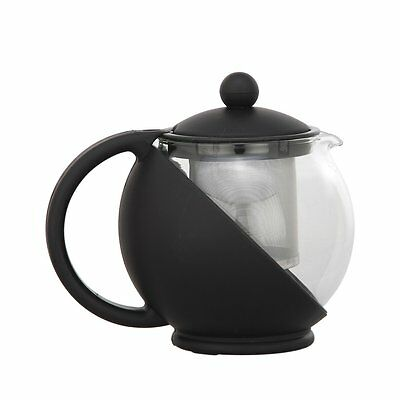 Norpro Eclipse Teapot 18/8 Stainless Steel Mesh Filter Black 4 Cup Durable Glass