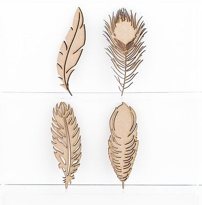 Wooden MDF Craft Shapes Feathers Peacock Bird Variety 3mm Thick Embellishments