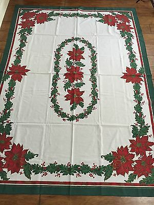 "Christmas Tablecloth Rectangle 59"" X 83"" Red Green Poinsettias Fabric"