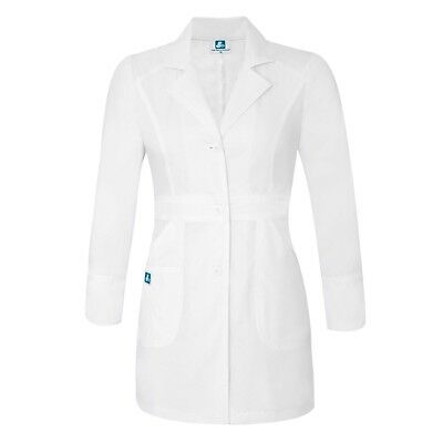Adar Plus Women Lapel Collar Multi Pocket Buttoned Medical Lab Coat Jacket