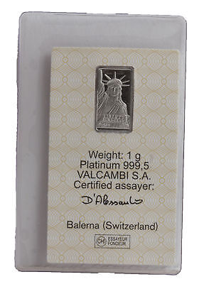 1 Gram Platinum Credit Suisse Bar in Assay Card - Statue of Liberty
