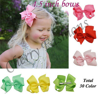 """4.5"""" Large Bow Hair Alligator inch knot Clips Girls Ribbon Bows Kids Accessories"""