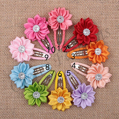 Girls kids stone hair clips sides snaps children baby flower hair accessories