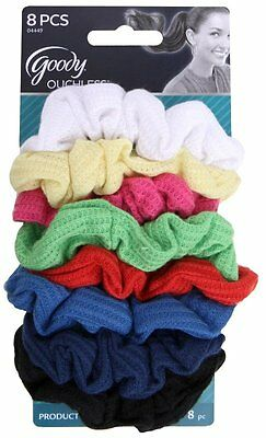 Goody Ouchless Ribbed Hair Scrunchies - Assorted Colors - 8 Scrunchies