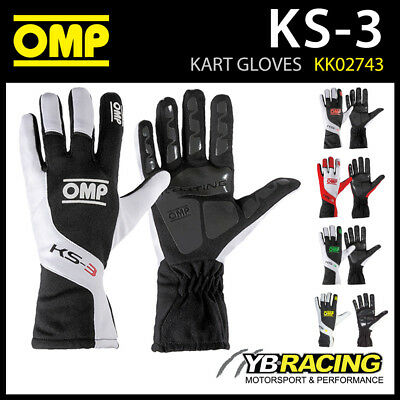 New! Kk02743 Omp Ks-3 Ks3 Kart Karting Gloves Anti-Skid Rubber Inserts 5 Colours