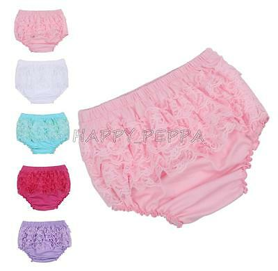 Newborn Baby Girl 3-24M Cotton Lace Ruffle Nappy Diaper Cover Bloomers Panties