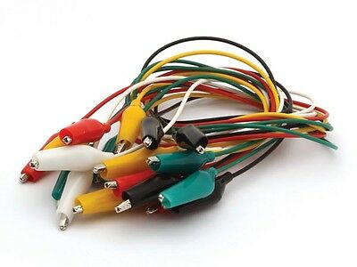 Velleman CM12 SET WITH 10 WIRES 55cm 5 COLOURS WITH BOOTED 32mm ALLIGATOR CLIPS