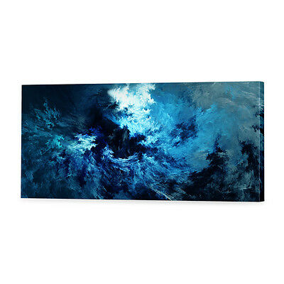 Stormy Blue Abstract Canvas Print | Framed Ready to Hang Wall Art